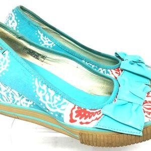 Sugar Women's Slip On Canvas Wedge Sneakers Size W8 Blue